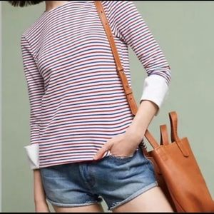 Anthropologie Deletta French Sleeve Stripe Top S